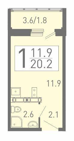 Уютная квартира-студия 20.2 м²
