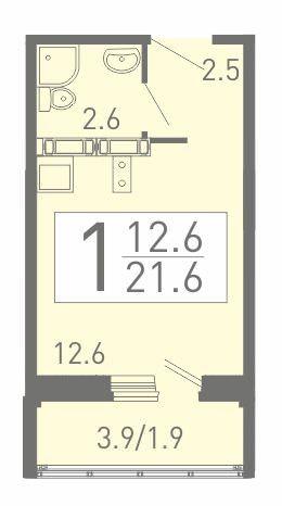 Компактная квартира-студия 21.6 м²