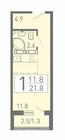 Уютная квартира-студия 21.8 м² с балконом