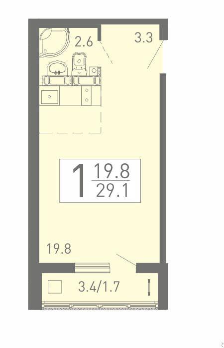 Уютная квартира-студия 29.1 м² с лоджией