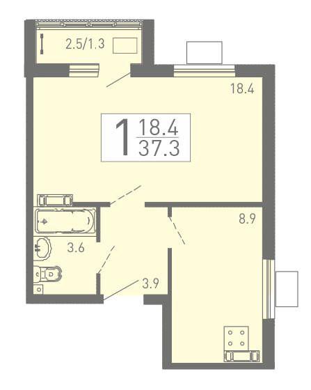 Просторная 1-комнатная квартира 37.3 м² с лоджией