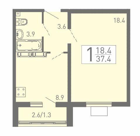1-комнатная квартира 37.4 м² с просторной жилой комнатой
