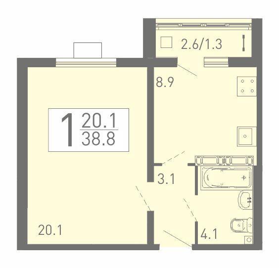 Большая 1-комнатная квартира 38.8 м² с лоджией