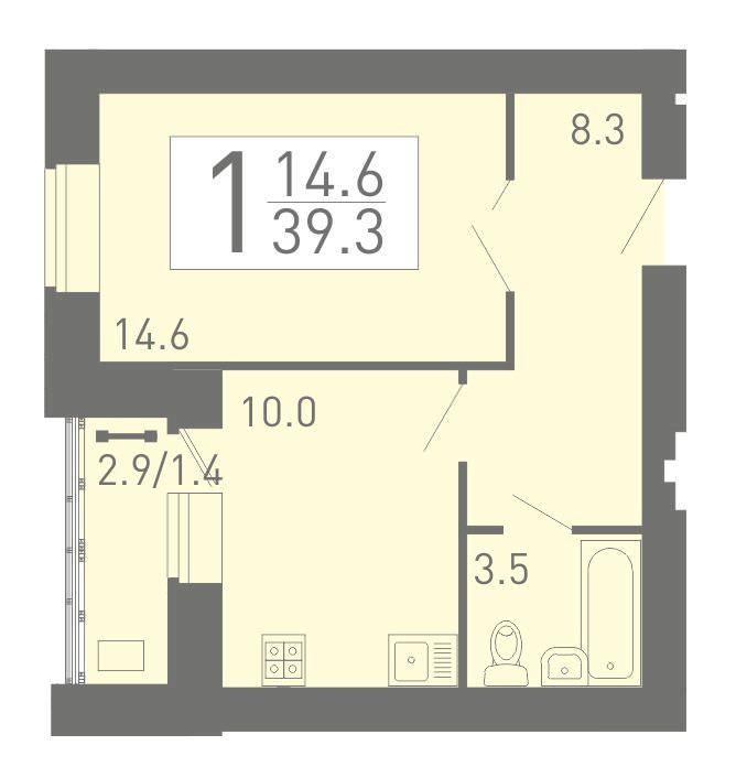 1-комнатная квартира 39.3 м² с лоджией из кухни