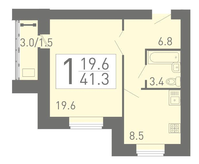 Просторная 1-комнатная квартира 41.3 м²
