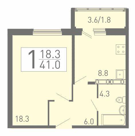 1-комнатная квартира 41 м² с просторной жилой комнатой