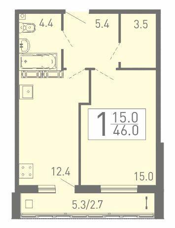 Просторная 1-комнатная квартира 46 м² с кладовой