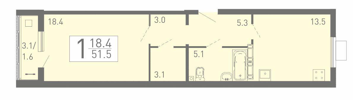 1-комнатная квартира-распашонка 51.5 м² с кладовой