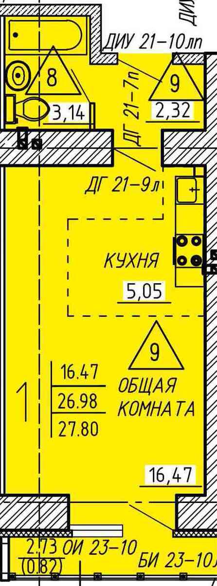 Компактная квартира-студия 27.8 м²