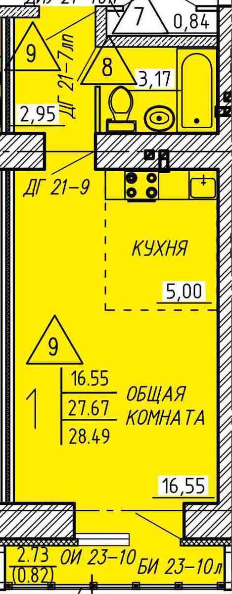 Уютная квартира-студия 28.49 м²