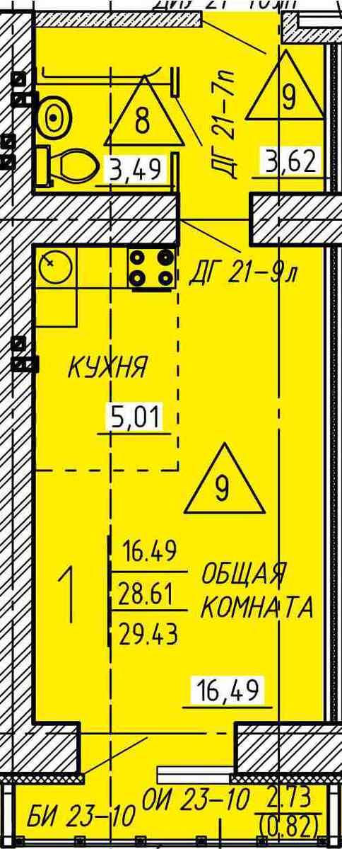 Комфортная квартира-студия 29.43 м²