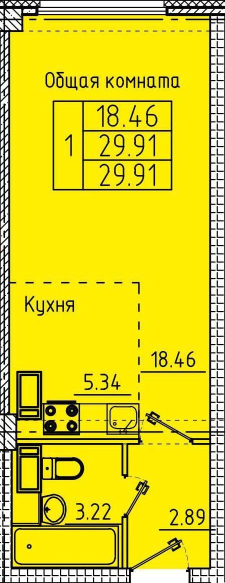 Уютная квартира-студия 29.91 м²