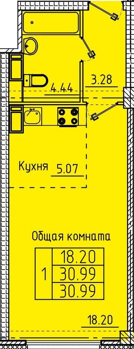 Уютная квартира-студия 30.99 м²