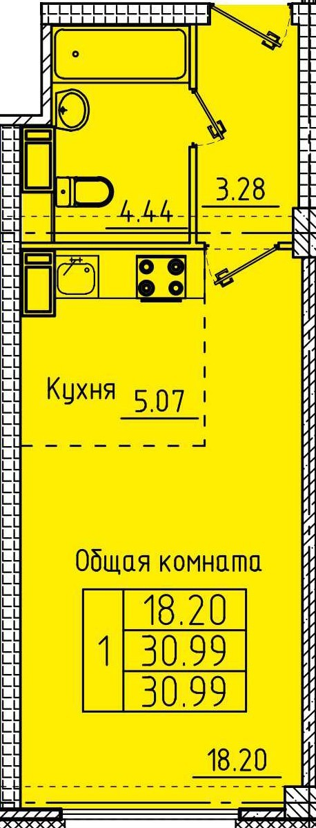 Просторная квартира-студия 30.99 м²