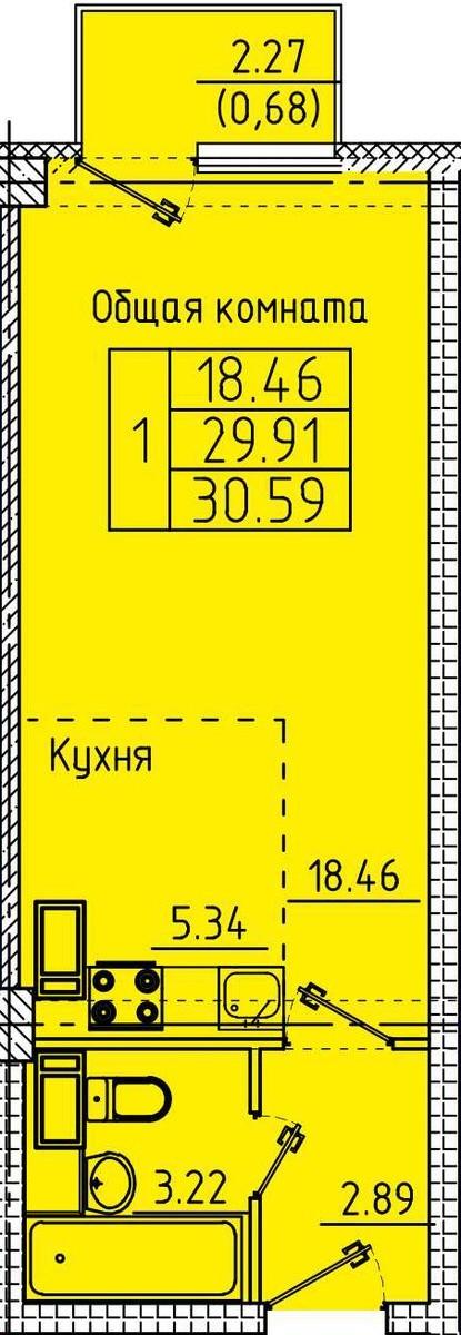 Современная квартира-студия 30,59 м²