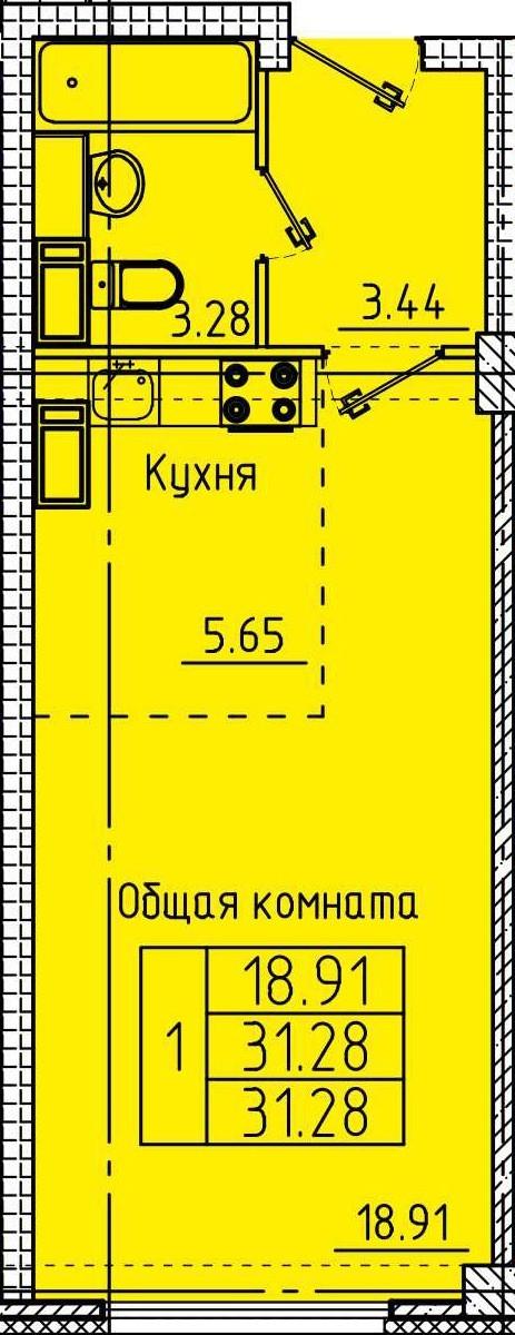 Современная квартира-студия 31.28 м²