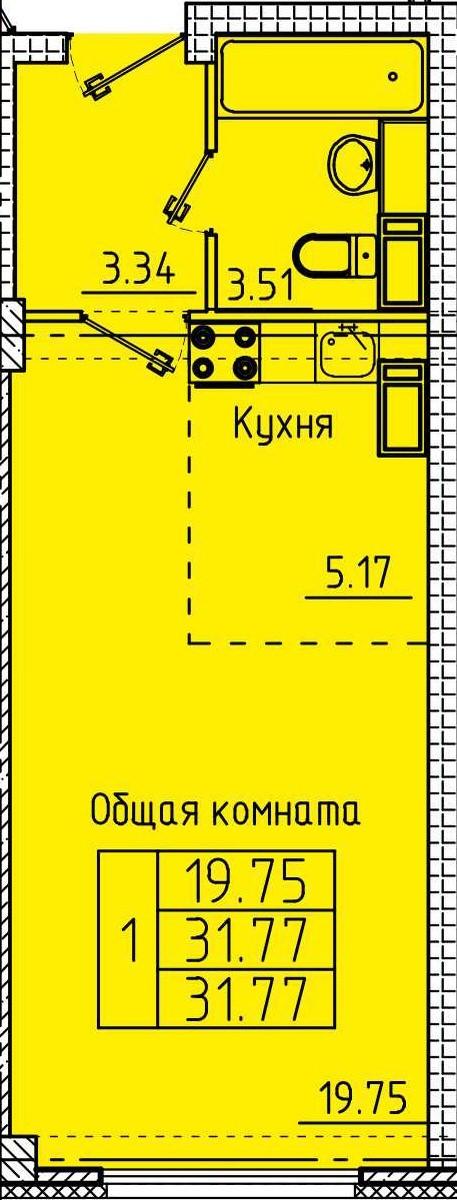 Комфортная квартира-студия 31.77 м²