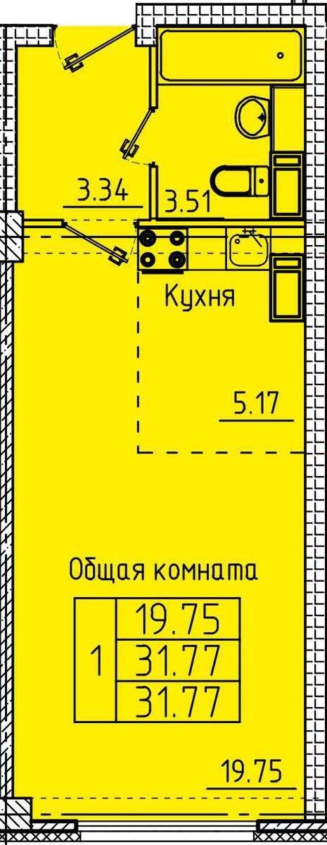 Уютная квартира-студия 31.77 м²