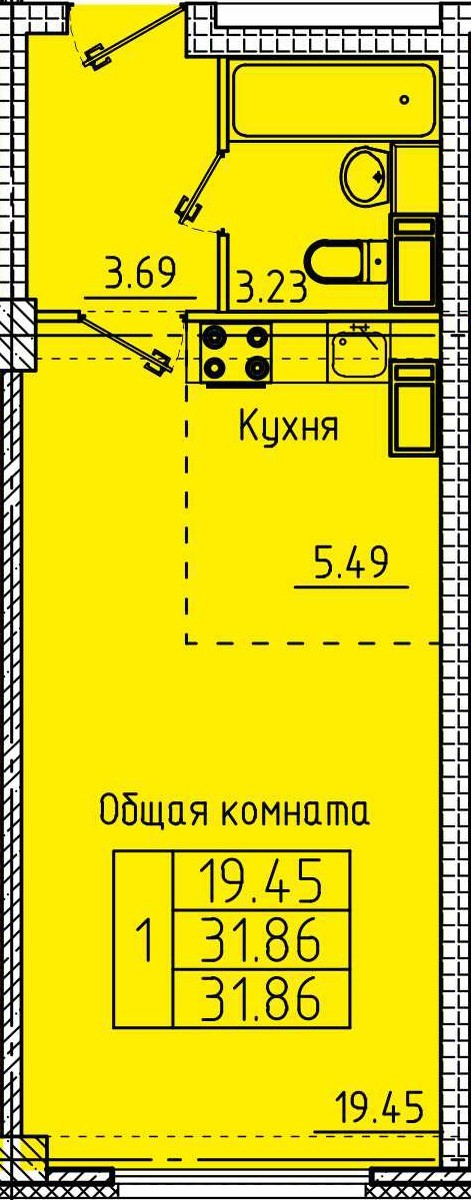 Современная квартира-студия 31.86 м²
