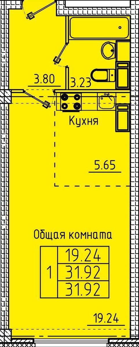 Компактная квартира-студия 31.92 м²
