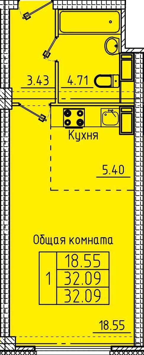 Уютная квартира-студия 32.09 м²
