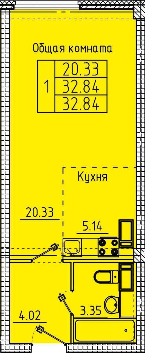 Просторная 1-комнатная квартира со свободной планировкой 32.84 м²