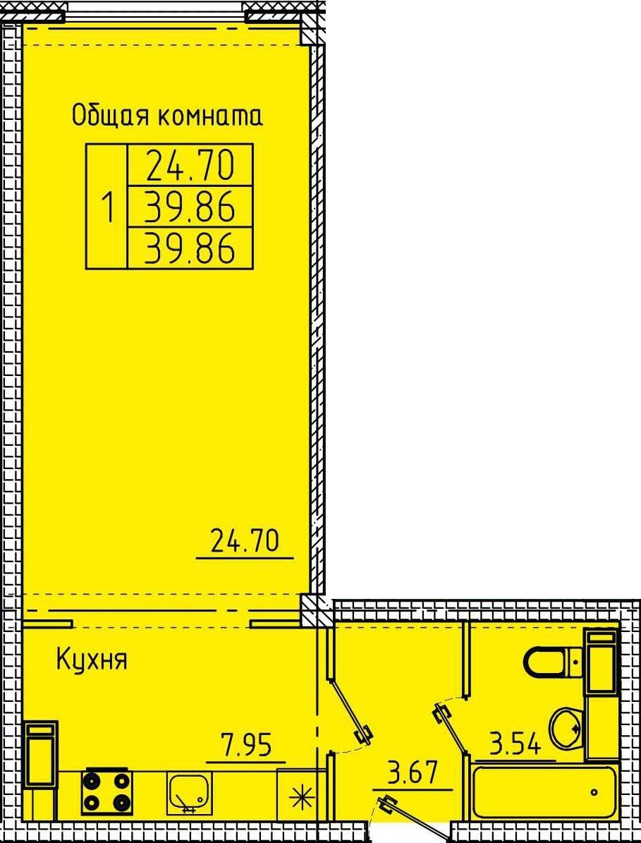 Просторная 1-комнатная квартира 39.86 м²