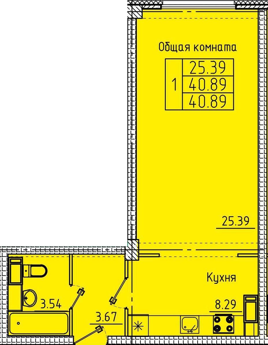 Просторная 1-комнатная квартира 40.89 м²