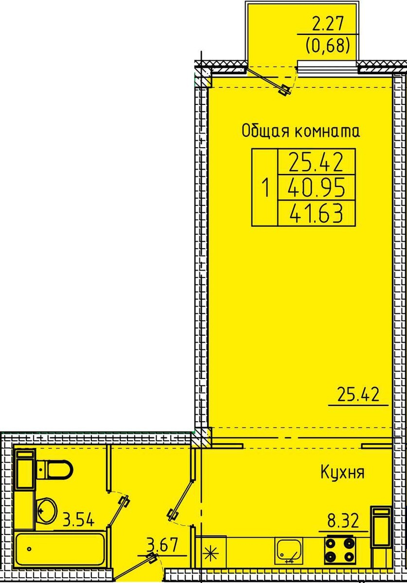 Большая 1-комнатная квартира 41.63 м²