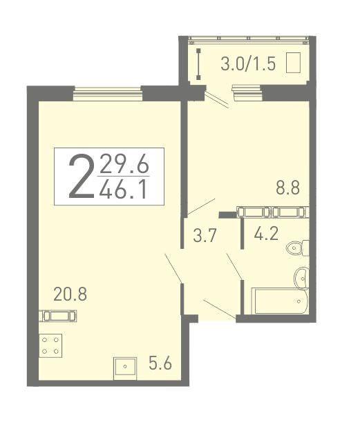 2-комнатная квартира с евро планировкой 46.1 м² с балконом из спальни