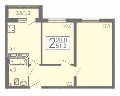 2-комнатная квартира 51.2 м² с балконом