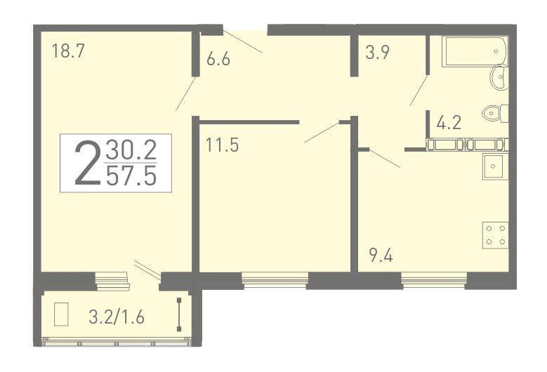 2-комнатная квартира 57.5 м² с балконом из гостиной