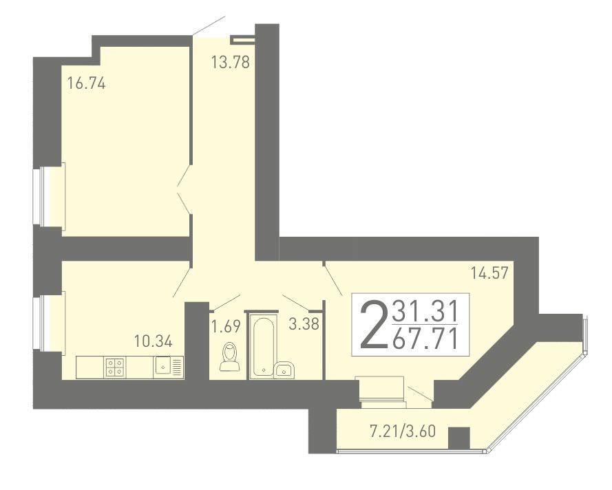 2-комнатная квартира 67.71 м² с большой лоджией