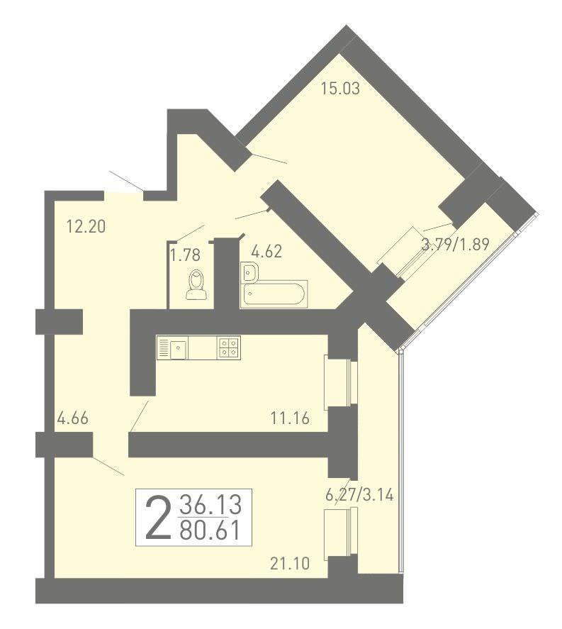 Просторная 2-комнатная квартира 80.61 м² с двумя лоджиями