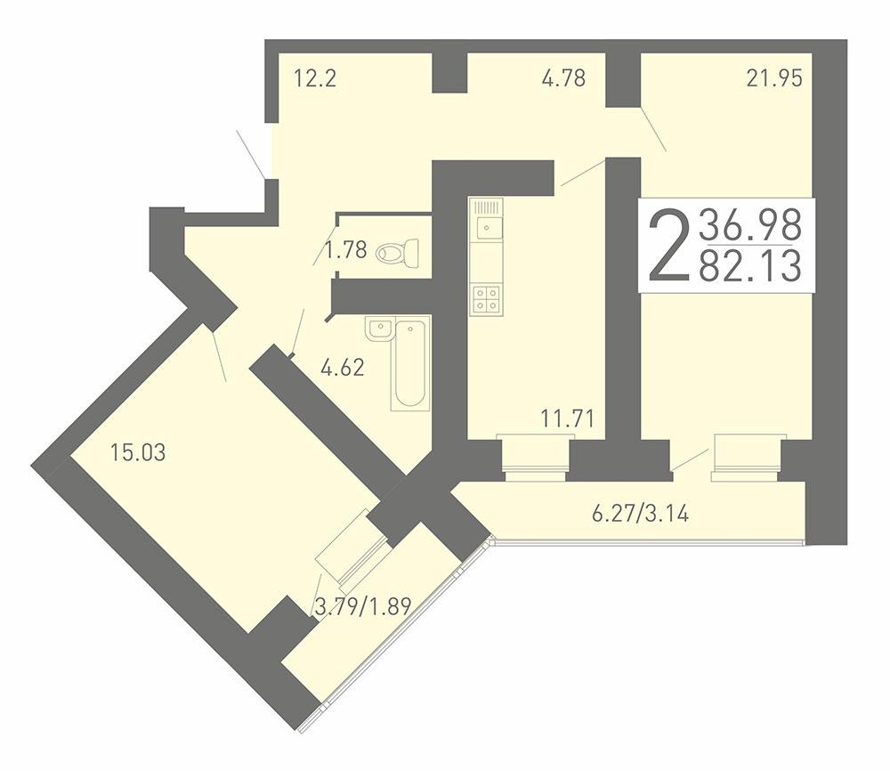 Просторная 2-комнатная квартира 82.13 м² с раздельным санузлом