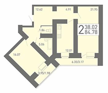Просторная 2-комнатная квартира 84.78 м² с двумя лоджиями