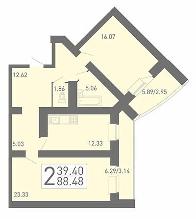 2-комнатная квартира 88.48 м² с просторными комнатами и раздельным санузлом
