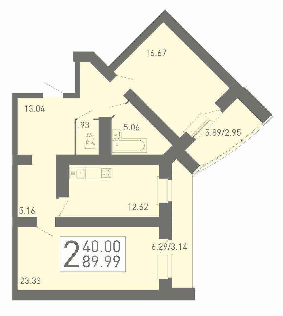2-комнатная квартира 89.99 м² с двумя лоджиями и раздельным санузлом