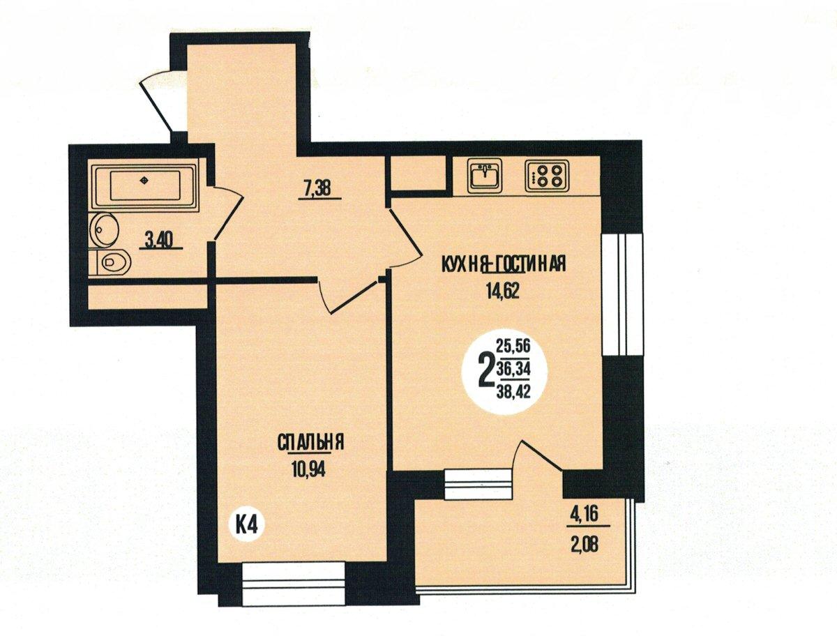 2-комнатная квартира 38.42 м² с евро планировкой