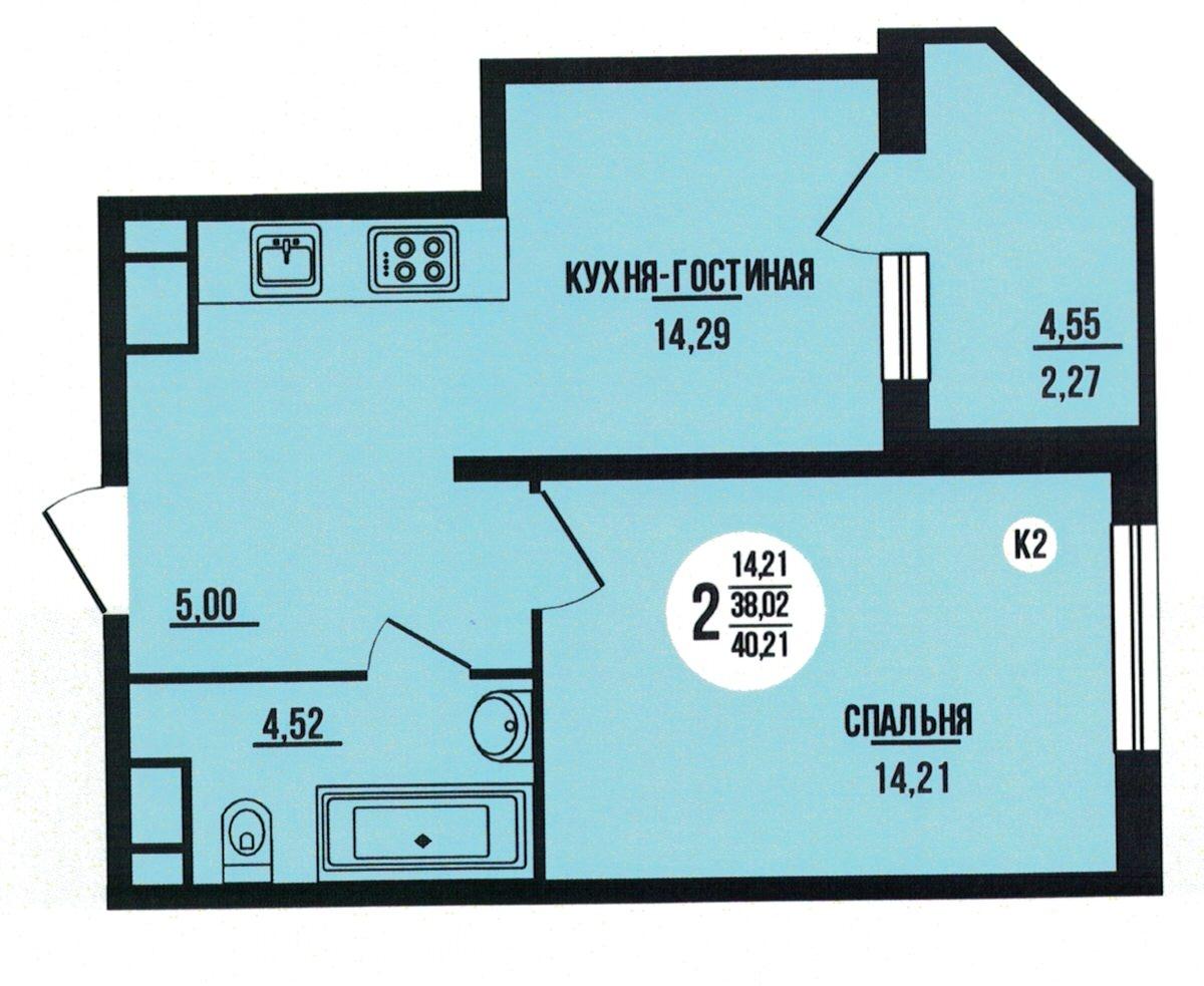Евро 2-комнатная квартира 40.21 м² с лоджией из кухни-гостиной