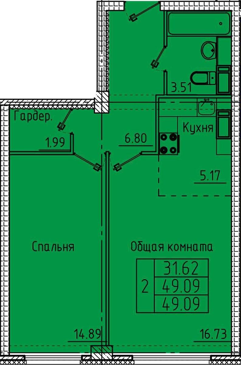 2-комнатная квартира с гардеробной 49,09 м²