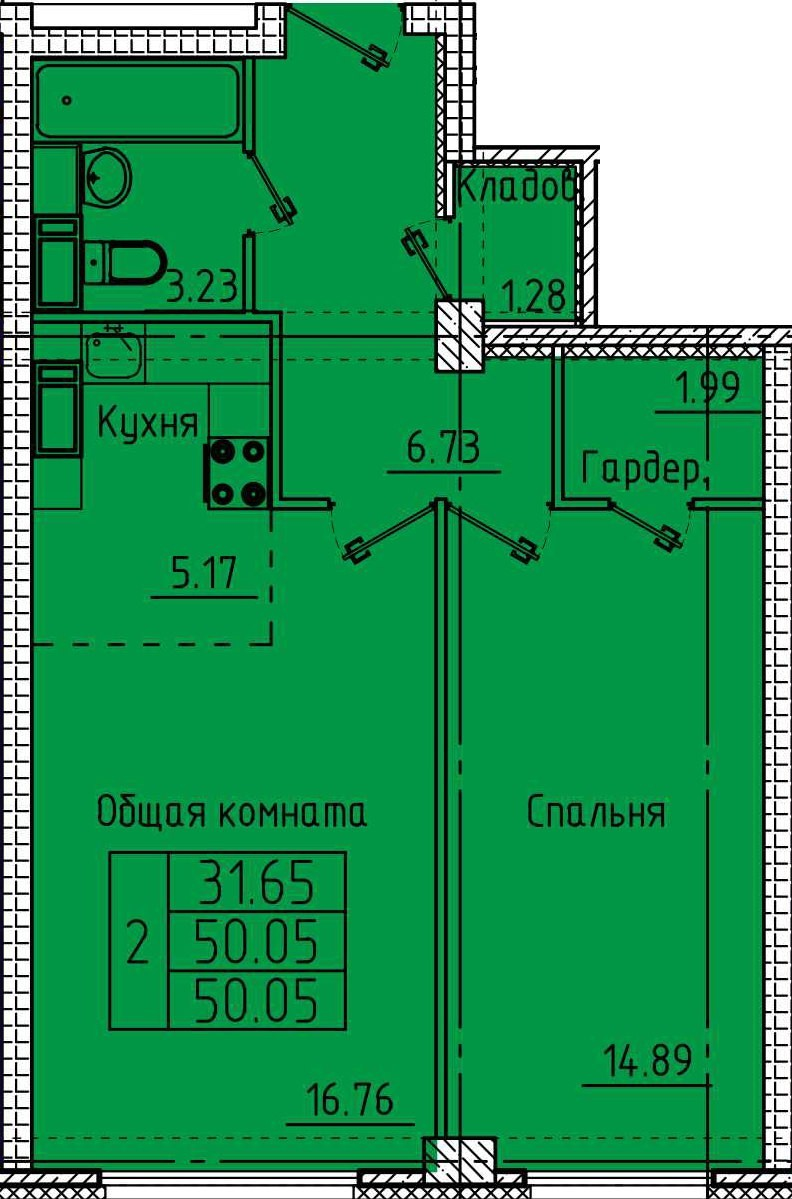 2-комнатная квартира 50.05 м² с кладовой