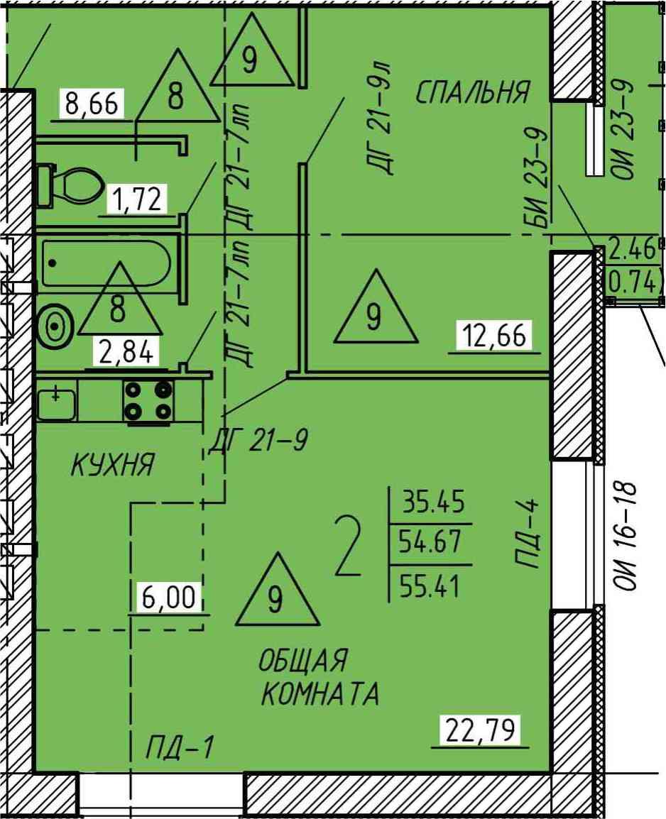 2-комнатная квартира с просторной кухней-гостиной 55.41 м²