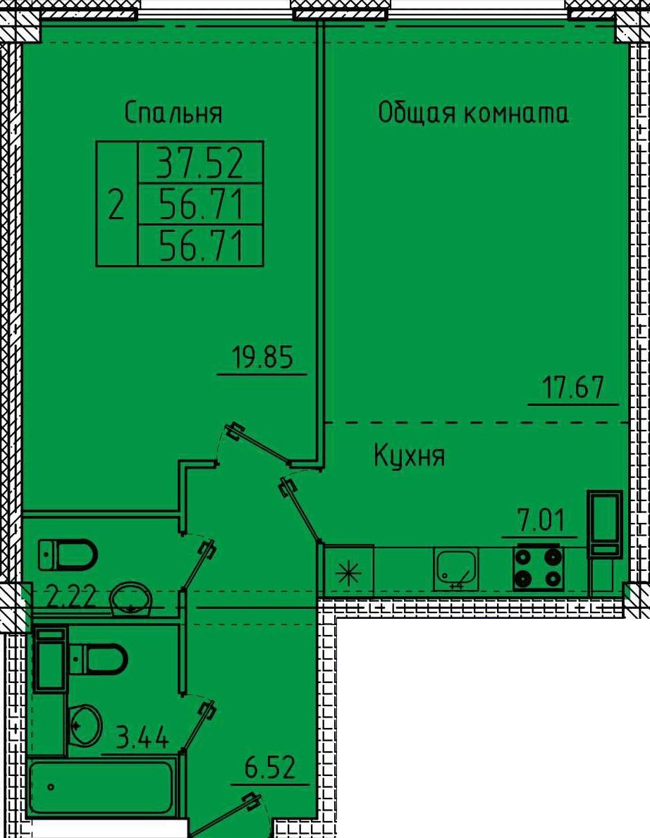2-комнатная квартира 56.71 м² с двумя санузлами