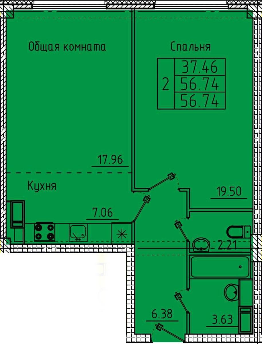 Просторная 2-комнатая квартира 56.74 м² с двумя санузлами