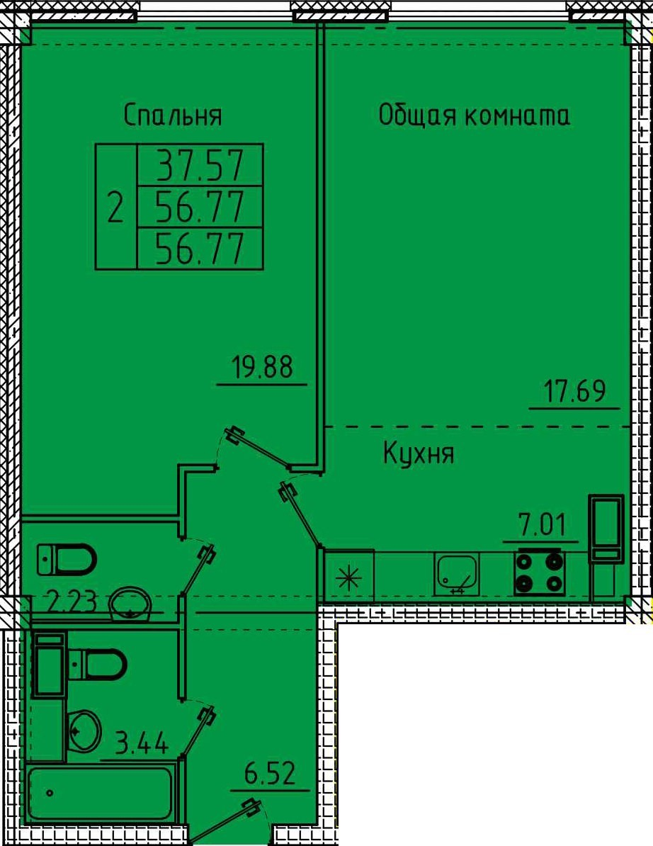 2-комнатная квартира 56.77 м² с евро планировкой