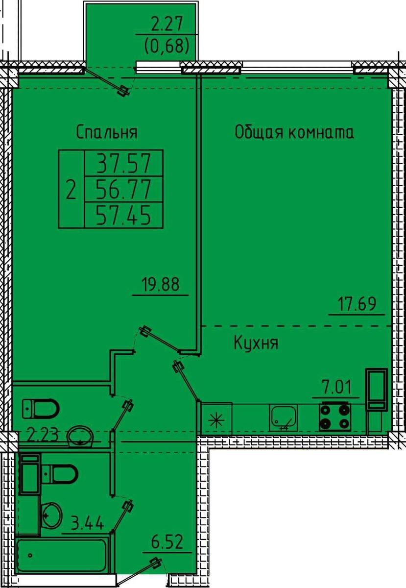2-комнатная квартира с евро планировкой 57.45 м²