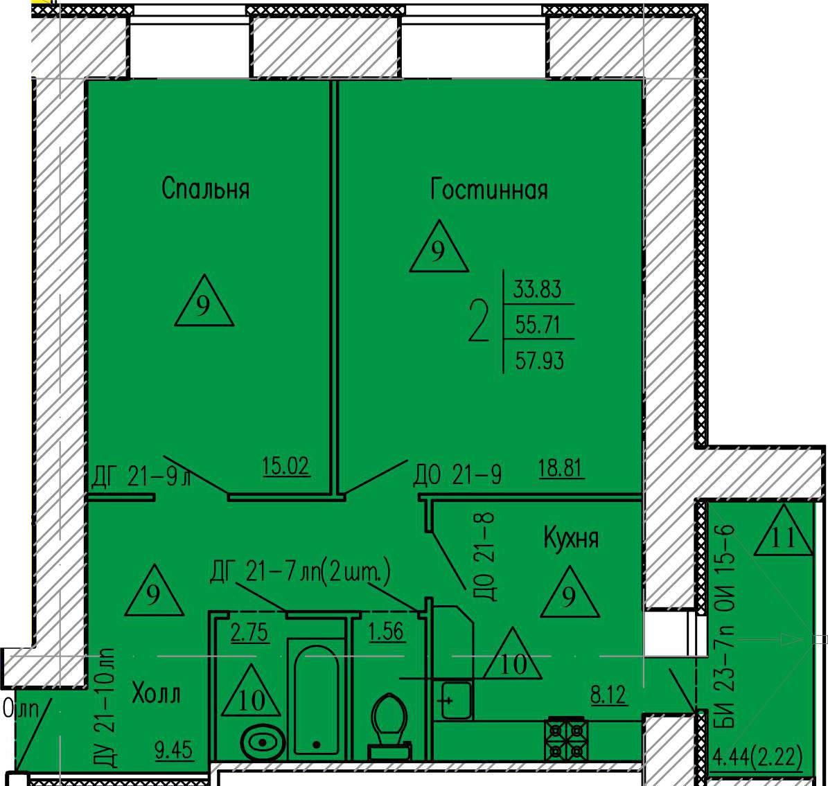 Просторная 2-комнатная квартира 57.93 м² с балконом