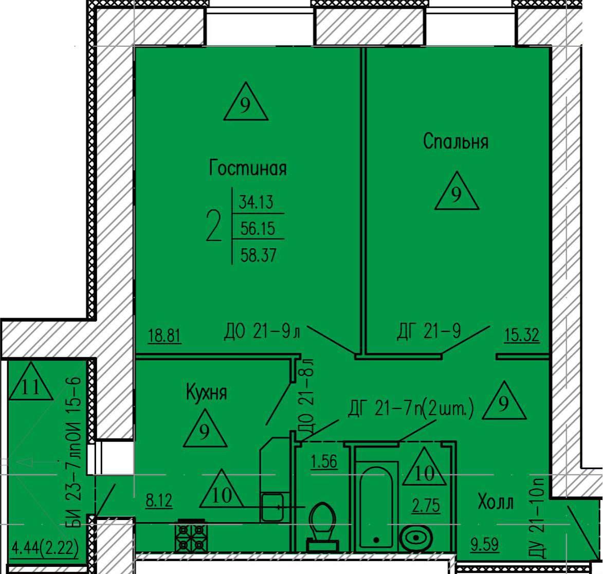 2-комнатная квартира 58.37 м² с просторным холлом