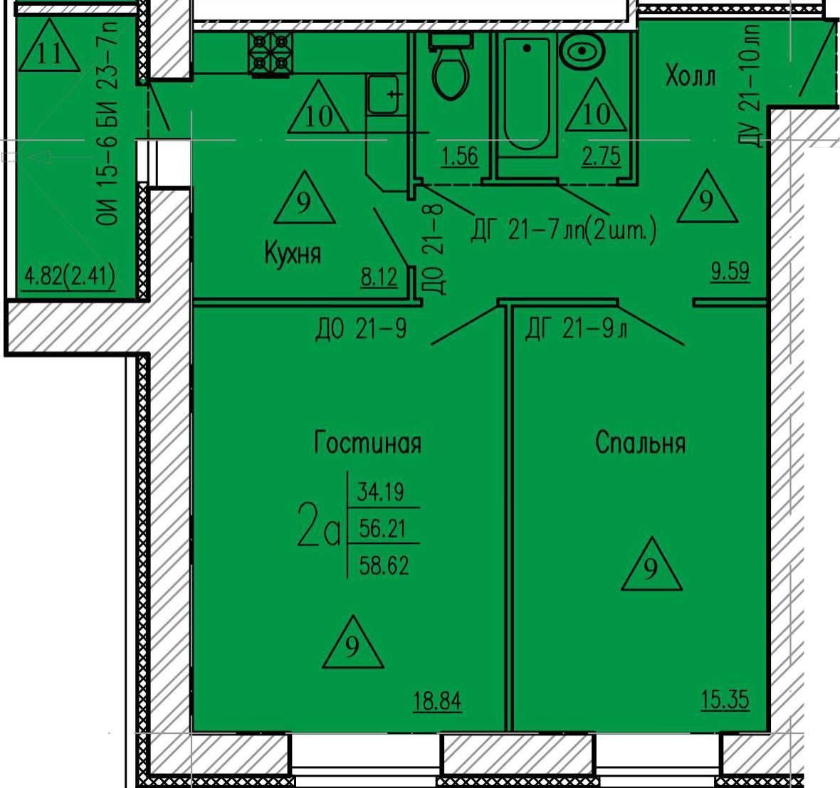 2-комнатная квартира 58.62 м² с просторными комнатами